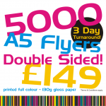 5000 A5 flyers double sided £149